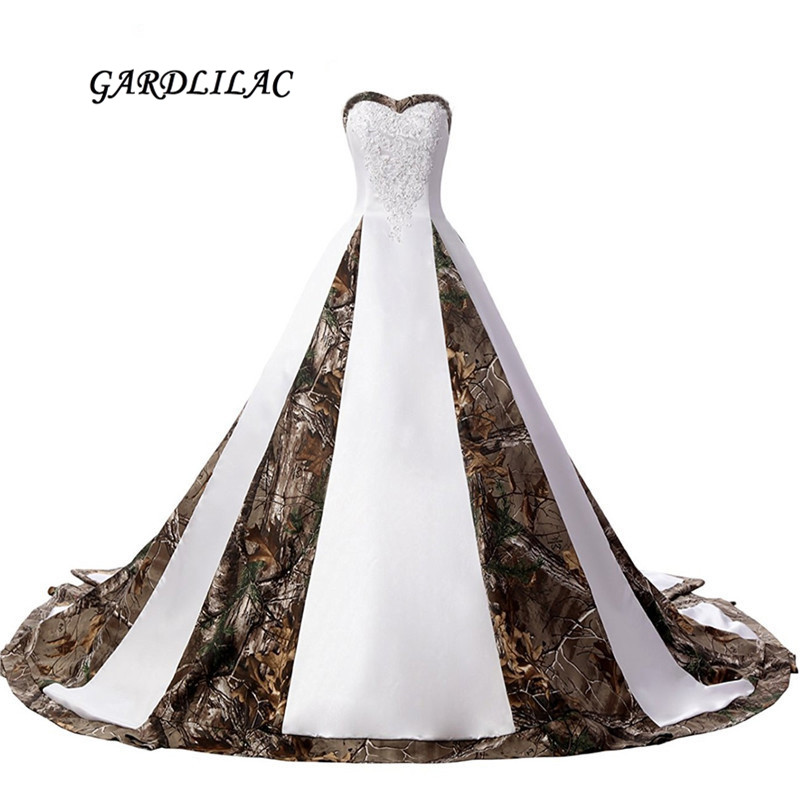 2019 New Real Pictures Sweetheart White Satin Camouflage Wedding Dresses 2019 Strapless Plus Size Bridal Gown With Appliques