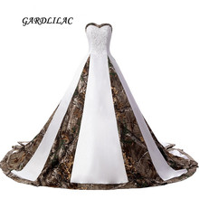 Купить с кэшбэком 2017 New Real Pictures Sweetheart White Satin Camouflage Wedding Dresses 2017 Strapless Plus Size Bridal Gown with Appliques