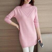 Ciepłe Loose Women Sweter 2017 Wiosna Jesień Różowy O Neck długi Rękaw Wave Drutach Swetry Elastyczna Pull femme Wyściełane Zimowe odzież