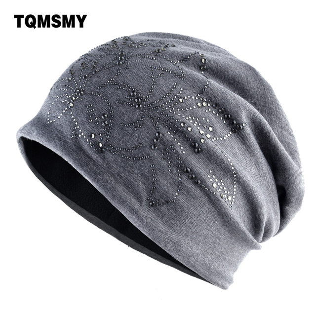 92f34a74685 Fashion Rhinestone Flower Beanies Women Autumn Winter Solid Color Hats  Ladies Casual Warm Bonnet Caps Female