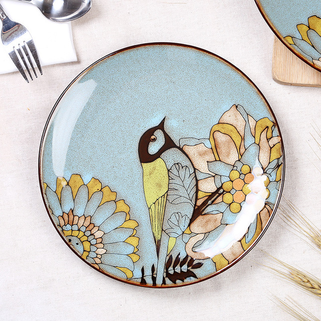 Retro hand-painted ceramic plates cutlery sets characteristic restaurant creative personality hanging flat plate customized  sc 1 st  AliExpress.com & Retro hand painted ceramic plates cutlery sets characteristic restaurant creative personality hanging flat plate customized gift-in Locksmith Supplies ...