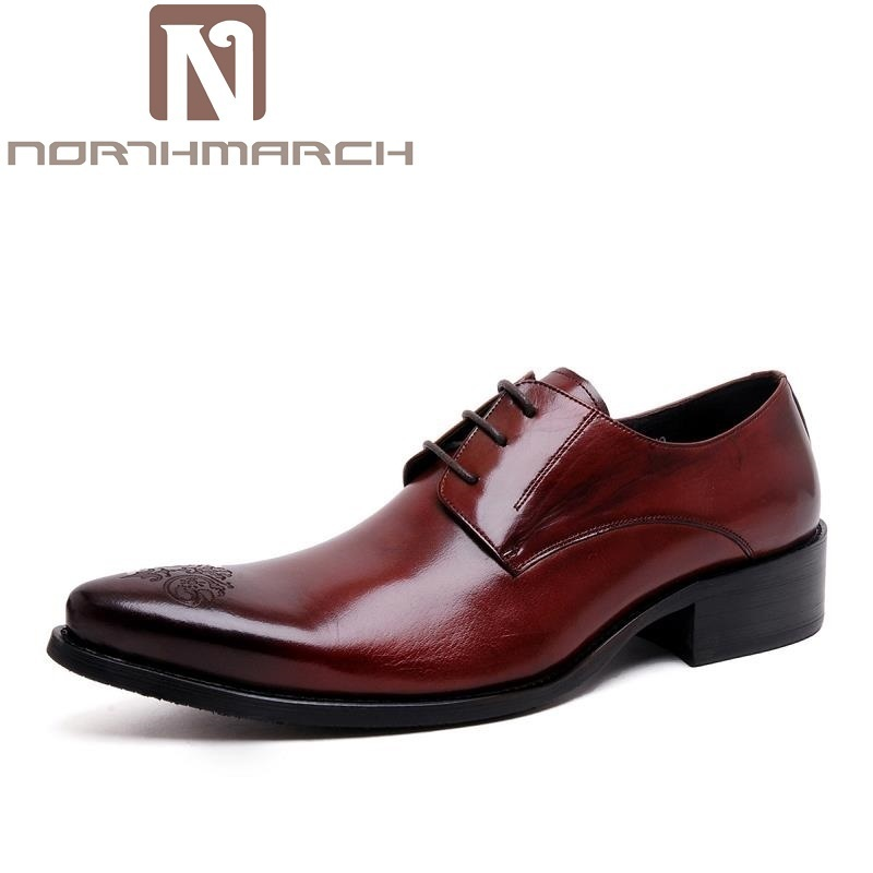 NORTHMARCH Genuine Leather Handmade Formal Shoes Men Vintage Carved Lace Up Oxfords Top Quality Flat Shoes Erkek Klasik AyakkabiNORTHMARCH Genuine Leather Handmade Formal Shoes Men Vintage Carved Lace Up Oxfords Top Quality Flat Shoes Erkek Klasik Ayakkabi