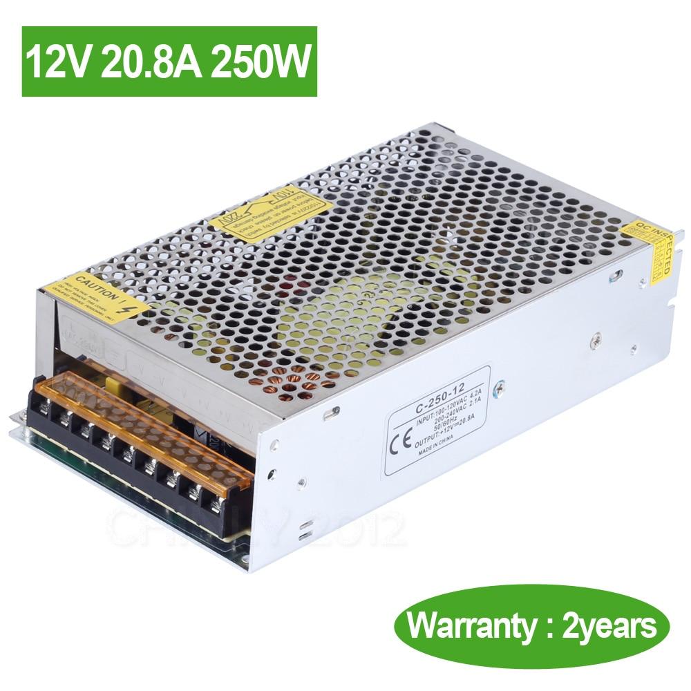 DC 12V 20.8A 250W AC 110V/220V input LED Switch Power Supply Driver transformer for LED Strip LED Module LED Lights