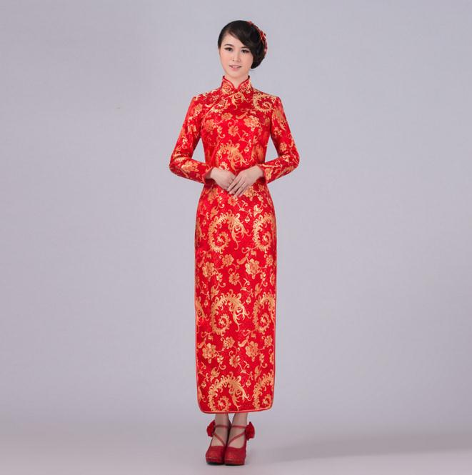 New Red Autumn Spring Long Sleeve Cheongsam Women Silk Satin Qipao