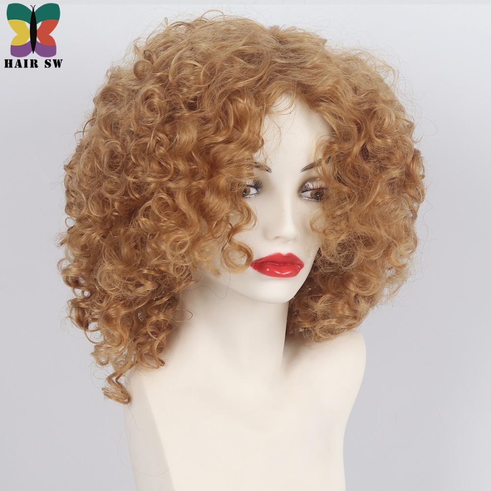 HAIR SW Medium Loose mixed Spiral Curly Synthetic Wig #27 Honey Blonde natura Layered Fluffy Heat Resistant hair wig for Women