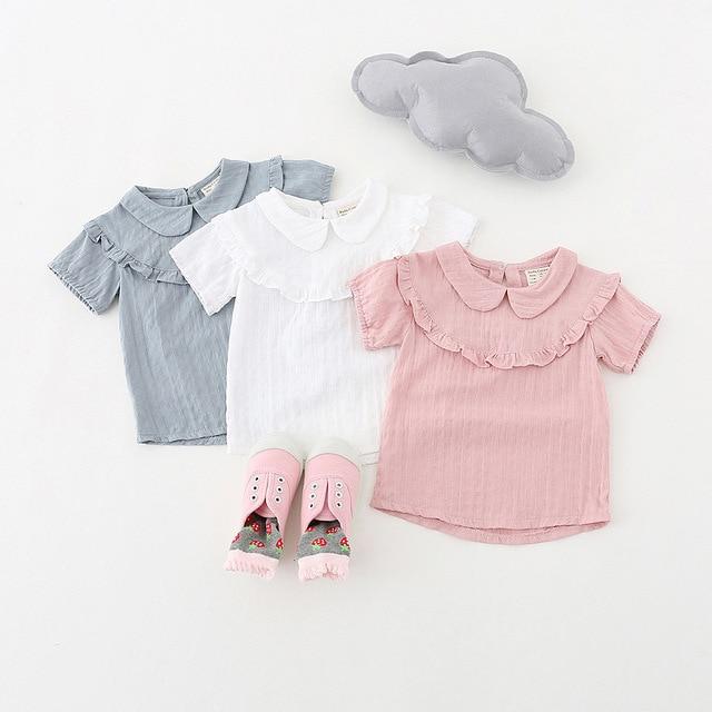 58773d17c Baby Girls T shirt Peter pan Collar princess Shirts Girl tops tees shirts  Kids children's clothes Girl Blouse infant clothing