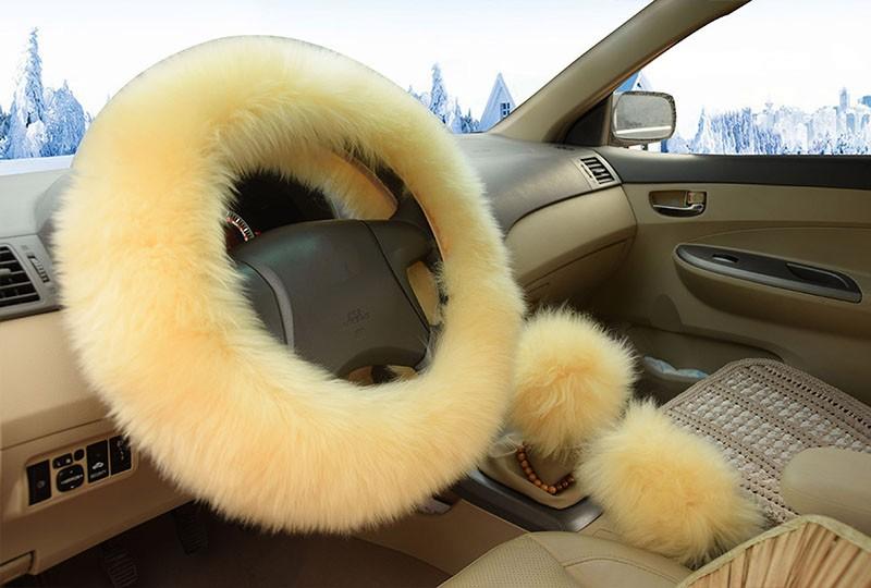 Winter Warm Wool Handbrake Cover Gear Shift Cover Steering Wheel Cover 38cm diameter 1 Set 3 Pcs 7
