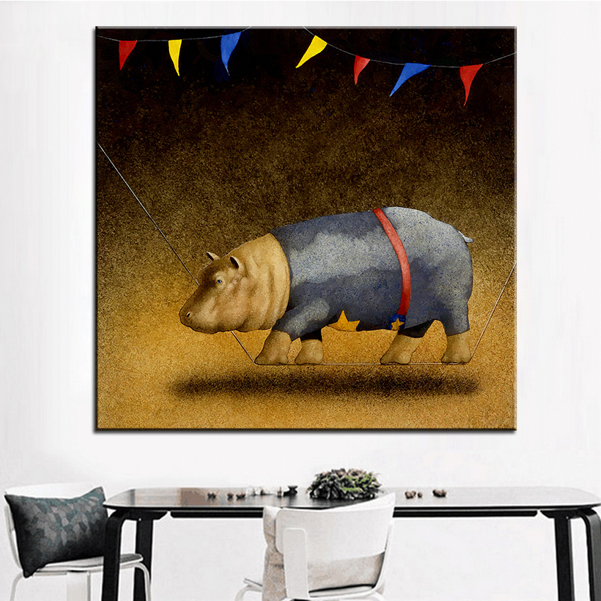 Large size Printing Oil Painting the <font><b>high</b></font> <font><b>wire</b></font> <font><b>act</b></font> Wall painting Wall Art Decoration Picture For Living Room painting No Frame