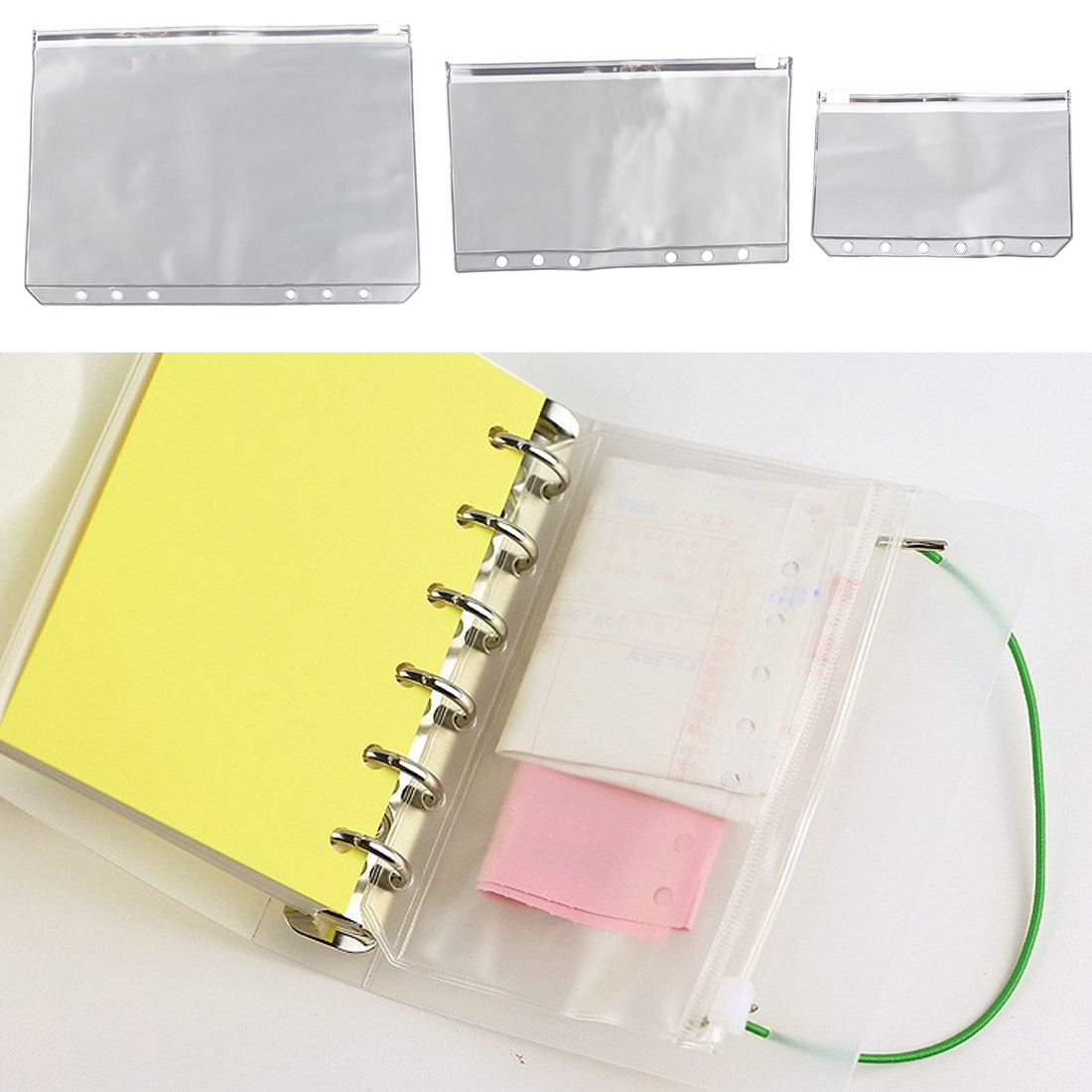 2PCS Universal Waterproof Transparent Document Bag Transparent Zipper Pull Bag 6 Hole Loose-leaf Bag Bill Storage Bag