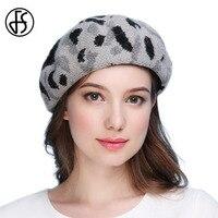 FS Winter Women Knitted Beret Hat Wool Rabbit Fur Warm Soft Baggy Beanie Cap Fashion Leopard