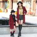 Autumn Winter Fashion Family Look Clothing Matching Mother Daughter Clothes Outfits Overcoat Mom Girls Wool Coat Plaid Jacket