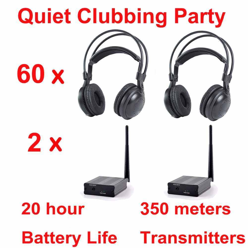 Most Professional Silent Disco compete system wireless headphones - Quiet Clubbing Party Bundle (60 Headphones + 2 Transmitters) 2 receivers 60 buzzers wireless restaurant buzzer caller table call calling button waiter pager system