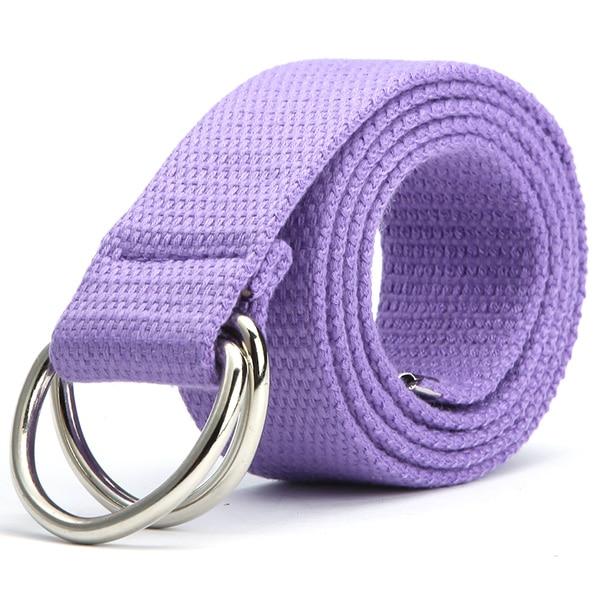 Трендовый модный ремень 10 цветов женский мужской холст двойное кольцо Пряжка повседневный Дикий тканый ремень - Цвет: Фиолетовый