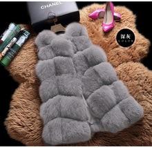 MIARA.L 2018 winter high faux fox fur vest brief paragraph female leisure coat new free shipping