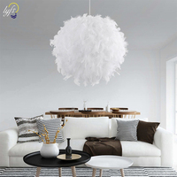 lyfs Best Valentine's Day Gift For Lover Heart Shape Feather lampada led Pendant Lamp with Led Bulb 3 colors