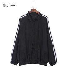 Qlychee Autumn Winter Fashion Striped Jacket Coat Long Sleeve Pockets Zipper Women Outwear Casual Basic Jackets