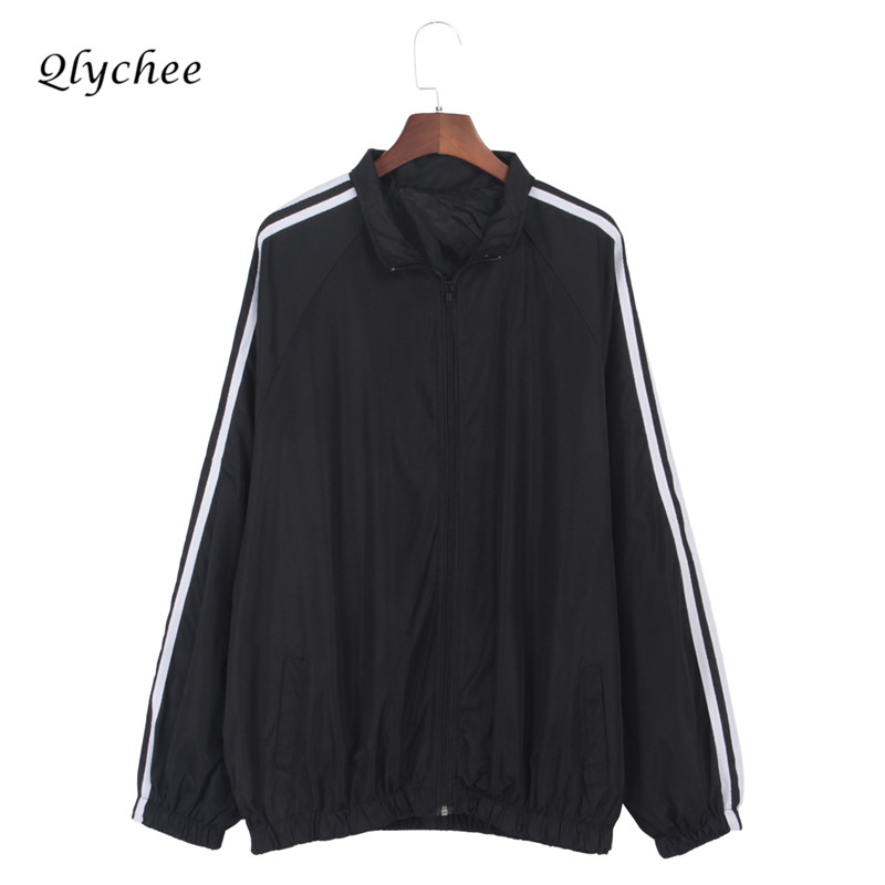Qlychee Autumn Winter Fashion Striped   Jacket   Coat Long Sleeve Pockets Zipper Women Outwear Casual   Basic     Jackets