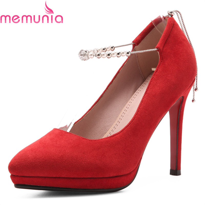 MEMUNIA 2018 new fashion sexy red platform bridal shoes stiletto high heels pointed toe elegant black red women pumps women purse solid color mini grind magic bifold leather wallet card holder clutch women handbag portefeuille femme dropshipping