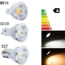 100% true power COB chip GU10 E27 E14 LED lamp 3W 5W 7W 85~265V Warm / Cold white DIMMABLE LED bulb Spotlight 120 Beam Angle