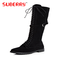 SUBERRY Women Boots With Flat Bottom Buckles Knee Boots Cowhide Zipper Nubuck Leather Shoes For Ladies Autumn Winter Size 33-43