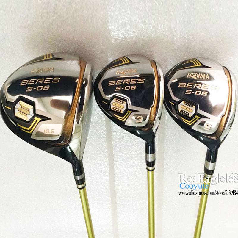 Cooyute New Golf Clubs HONMA S-06 3star Golf Wood Set Golf Driver With Fairway Woods Graphite Shaft R Or S Shaft Free Shipping
