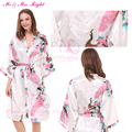 DIY Word Peacock Robes Sexy Wedding Gown Bride Bridesmaid Bathrobes Satin Bath Kimono Silk Nightgown Bridal Sleepwear Nightdress