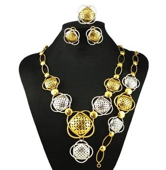 big necklace wholesale price deep gold colour jewelry sets african necklace bracelet fashion wedding choker