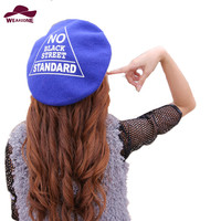 Winter Hats For Women Berets Knitted 100 Wool Beret Mujer Triangle Lettler Print Berets Hats Ladies