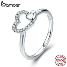 BAMOER 100% 925 Sterling Silver Romantic Heart to Heart AAA CZ Dangle Finger Ring for Women Wedding Engagement Jewelry SCR277