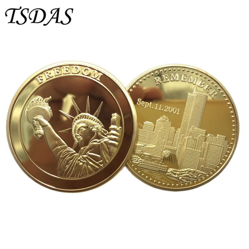 4cm Dia 24k Real Gold Plated Coin To Remember 9 11 Event American Liberty Souvenir Replica Coin