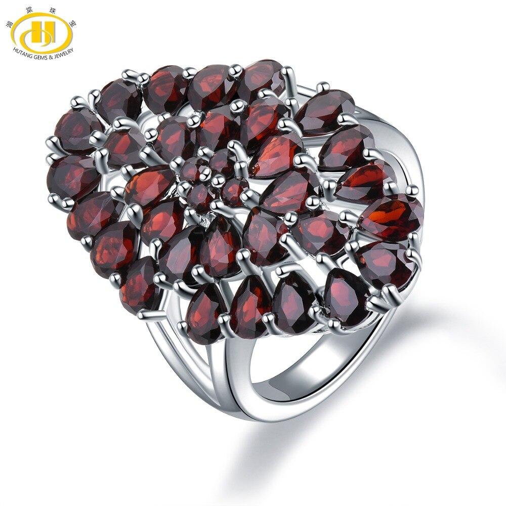 Hutang 6 6ct Garnet Wedding Ring Natural Gemstone 925 Sterling Silver Flower Rings Fine Elegant Jewelry