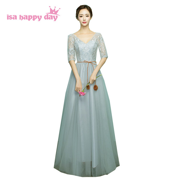 girls gray v neck sleeved tops ladies long nice fashion bridal tulle prom pageant dress 2017 for teenagers ball gowns H4042