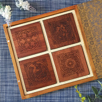 Practical Wooden Cup Mat Red Wood Teacup Pads Coffee Store Beverage Store Household Table Decoration Insulation Pad Mat