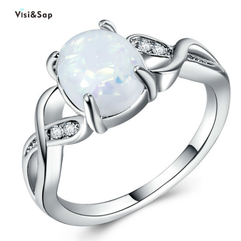 Visisap Elegant Oval Opals Rings for Women Dropshipping Opal Ring Anniversary Jewelry Factory Accessories B1501