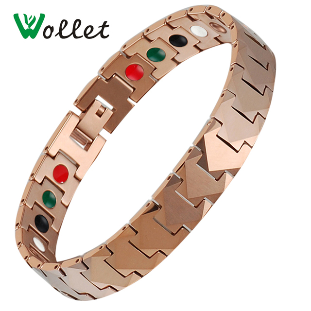 Wollet Jewelry Mens Energy Bracelet Magnet And Germanium Infrared Negative Ion Tourmaline Rose Gold Color Tungsten