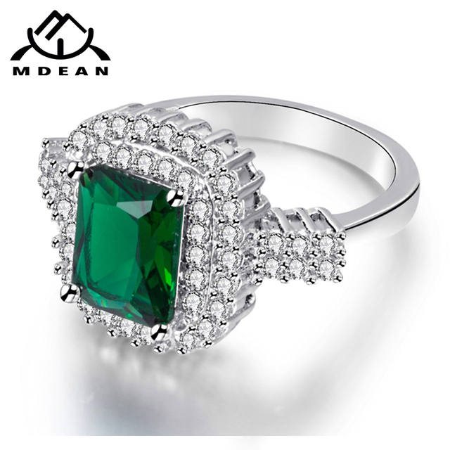MDEAN White Gold Color Wedding Rings for Women Engagement green AAA Zircon Jewelry Femme Bijoux Bague Size 6 7 8 9 10 H687