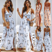 Womens Summer Boho Maxi Long Dress Evening Party Beach Dresses Sundress Floral Halter 2018