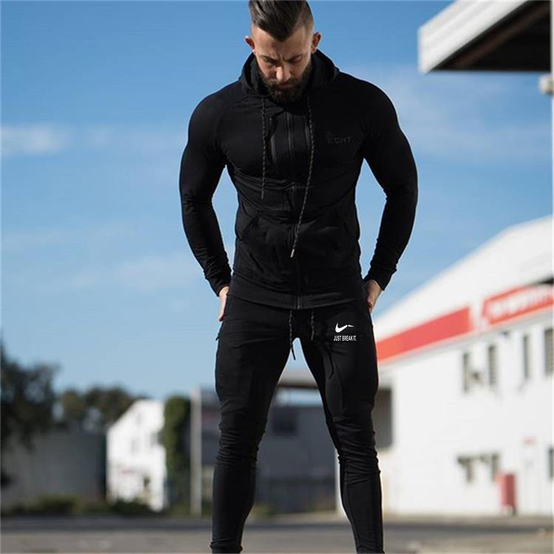 2018 New Mens Pants Compressed Gymming Skinny Pants Mens Fitness Workout Autumn movement Fitness Mens Breathable Pants