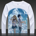 Your Lie in April Print T-shirts Arima Kousei Long Sleeve Full T Shirt Miyazono Kaori Tops Autumn Tees Sawabe Tsubaki Clothes