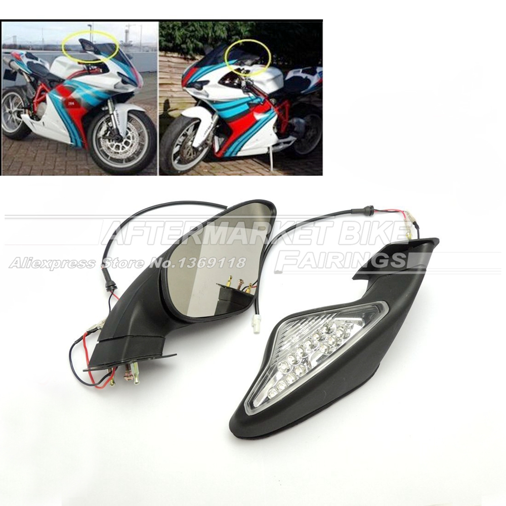 Motorcycle Rearview Mirror For DUCATI 848 1098 1098S 1098R 1198 1198S 1198R Intergrated Turn Signal Rear View Side Mirrors 1set motorcycle rearset foot pegs footrest rear set for ducati 848 1098 1098s 1098r 1198 titanium wholesale d10