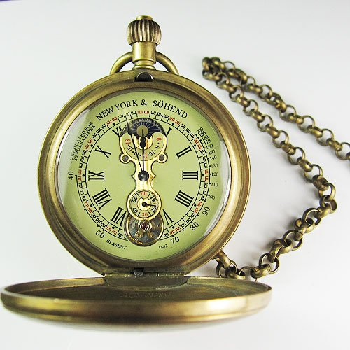 hot 100% Brass Antique Double Cover Mechanical Pocket Watch цена и фото