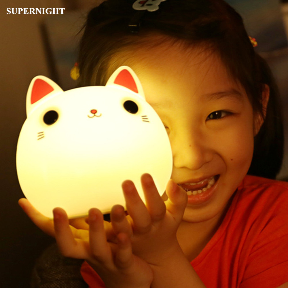 SuperNight Cartoon Cat LED Lamp Touch Sensor Colorful Silicone Rechargeable Children Kids Baby Bedroom Bedside Night Light Gift cartoon bees night light dc 5v usb rechargeable night lamps touch dimming led table lamp baby children gift bedside lamp