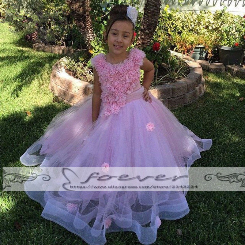 Pink Appliques Tulle Ball Gown Kids Evening Gowns Pageant   Dresses   For   Girls   Glitz   Flower     Girl     Dresses   Vestido De Daminha