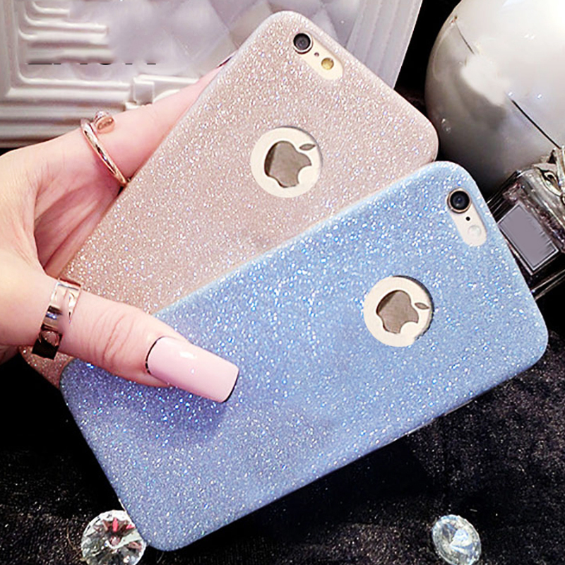 Hot Glitter Powder Ultra Thin Soft TPU Phone Back Cover Phone Case For iPhone 7 For