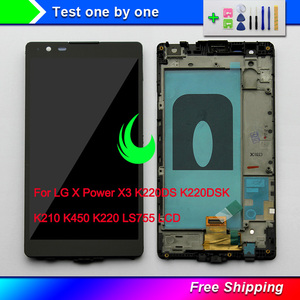 """Image 1 - 5.3 """"orijinal LG X güç X3 K220 K220DS K220DSK K210 K450 LS755 LCD dokunmatik ekranlı sayısallaştırıcı grup çerçeve ile"""