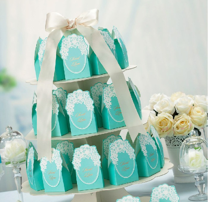 10 Pcs Romantic Blue Candy Bag Wedding Event Party