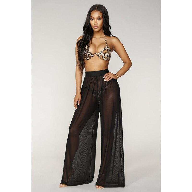 New Fashion Women High Waist Mesh   Wide     Leg     Pants   Beach Wear Bikini Cover Up Swimwear Transparent Long   Pants   Trousers