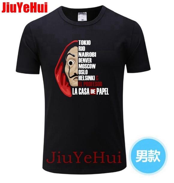 La Casa De Papel Money Heist TV Brand Men's   T     Shirts   Male Pre-Cotton Short Sleeve Tee House of Paper   T  -  Shirt   Men Tees   T     Shirt   22