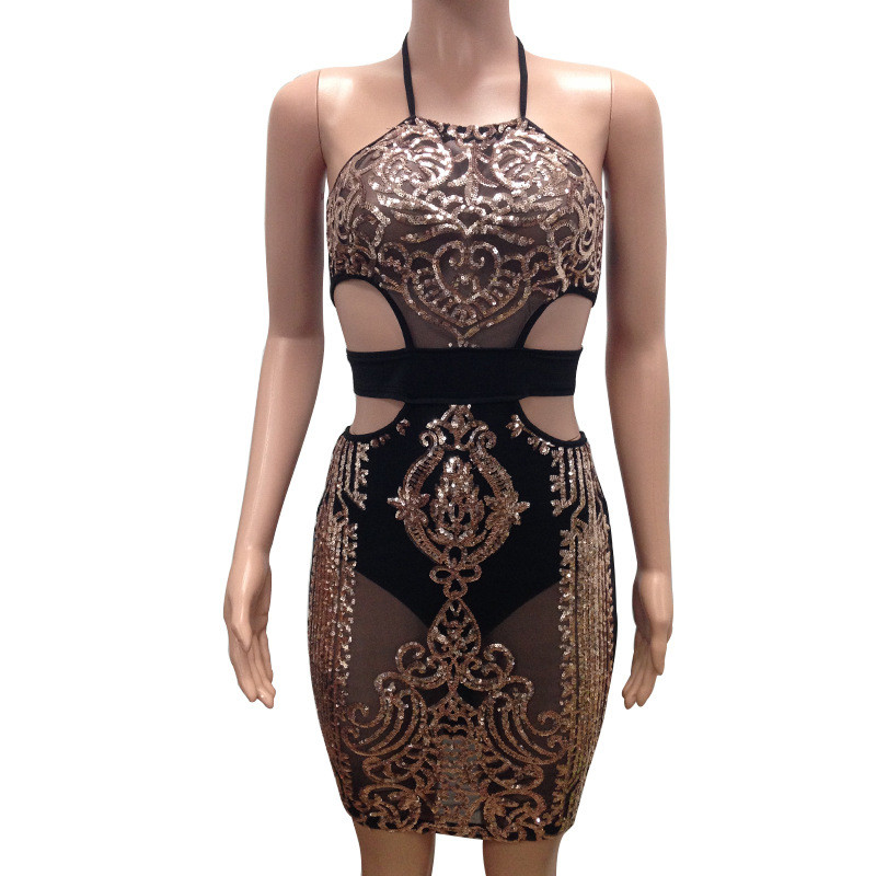 Womens Rose Gold Sequin Dress 2018 Sexy Mesh Sheer Hollow Out Halter Sheath  Party Club Wear Sparkly Dresses Vestidos De Festa-in Dresses from Women s  ... 3a65936a6c05