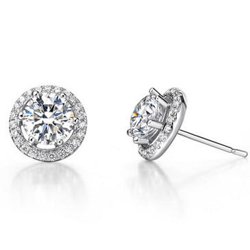 Clic Uni 0 8 Carat Simulated Diamond Halo Stud Earrings 925 Sterling Silver Gold Plated For